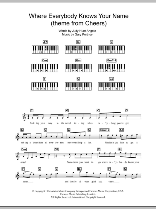 Where Everybody Knows Your Name Theme From Cheers Sheet Music