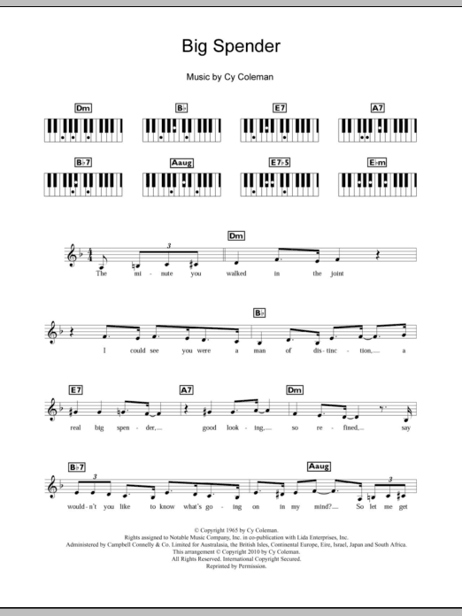 Big Spender (from Sweet Charity) Sheet Music
