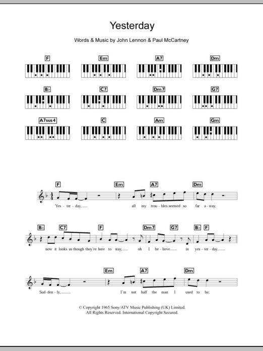 Ukulele yesterday ukulele chords : Yesterday | Sheet Music Direct