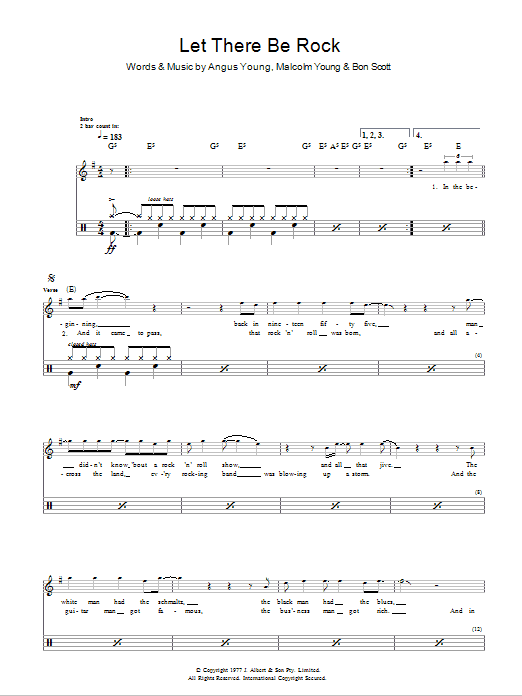 Let There Be Rock by AC/DC Piano, Vocal & Guitar (Right-Hand Melody)  Digital Sheet Music