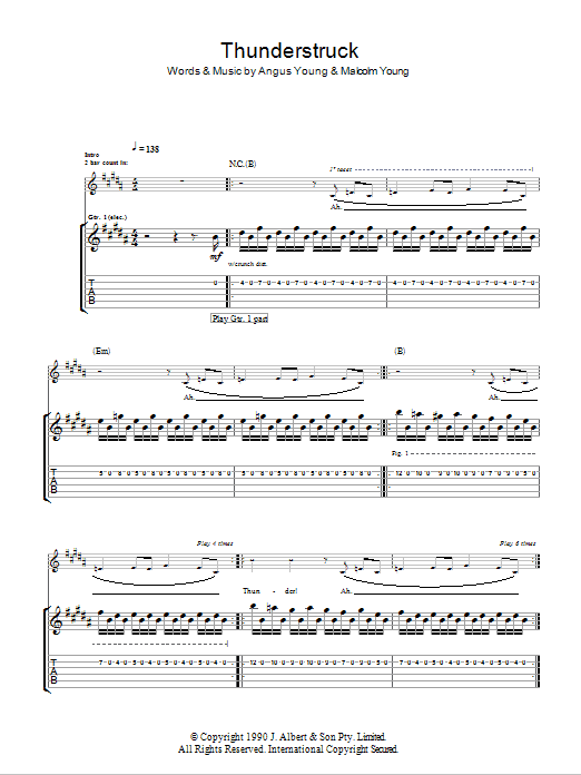 Thunderstruck Sheet Music