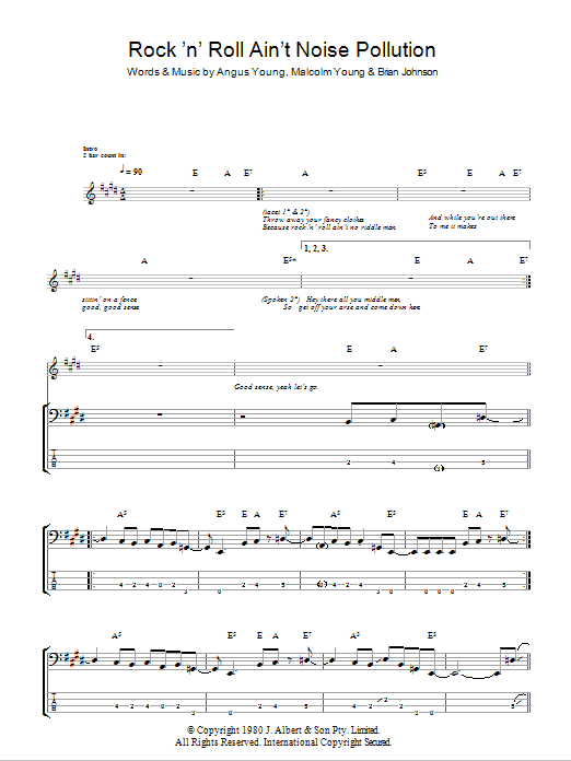 Rock And Roll Ain't Noise Pollution Sheet Music