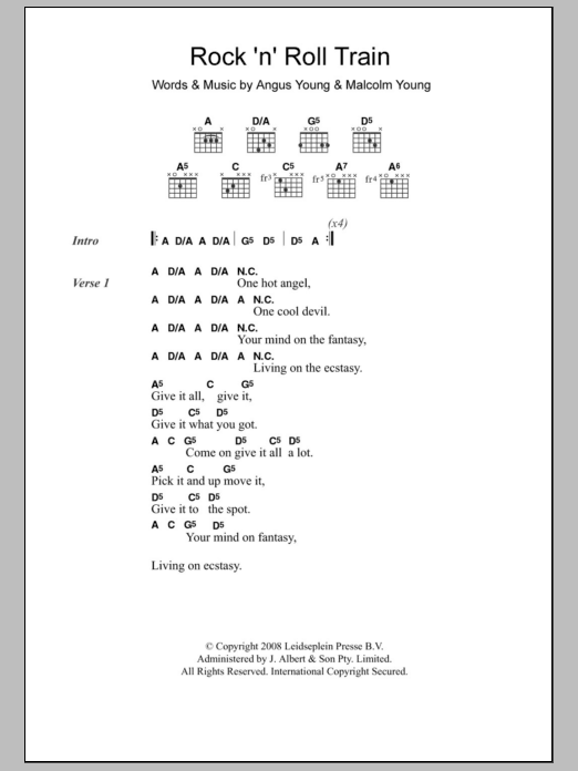 Rock \'N\' Roll Train | Sheet Music Direct