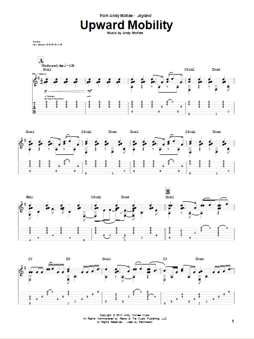 Tablature guitare Upward Mobility de Andy McKee - Tablature Guitare