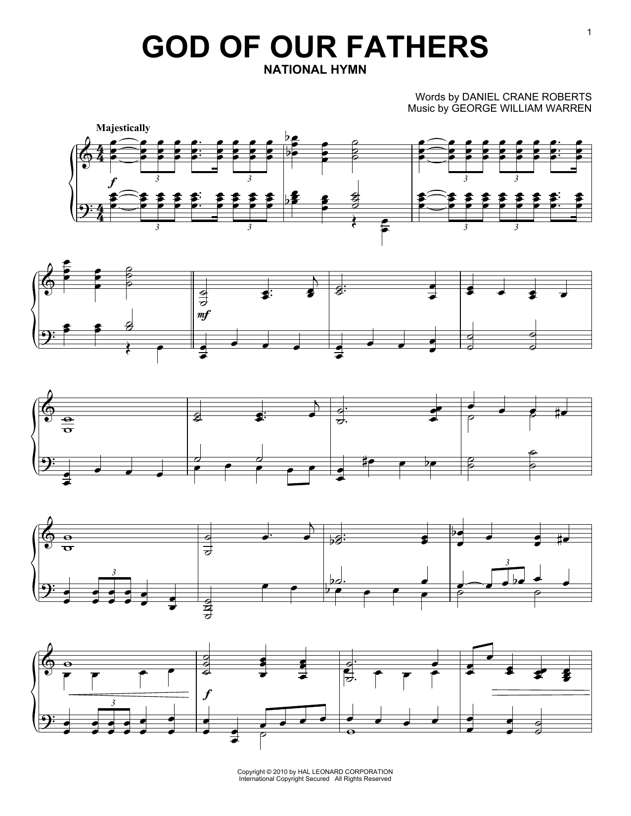 Partition piano God Of Our Fathers de Daniel Crane Roberts - Piano Solo