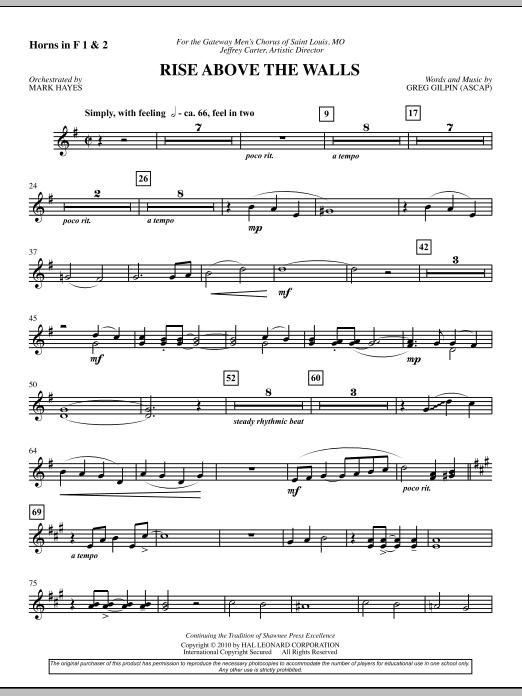 Rise Above The Walls - F Horn 1,2 (Choir Instrumental Pak)