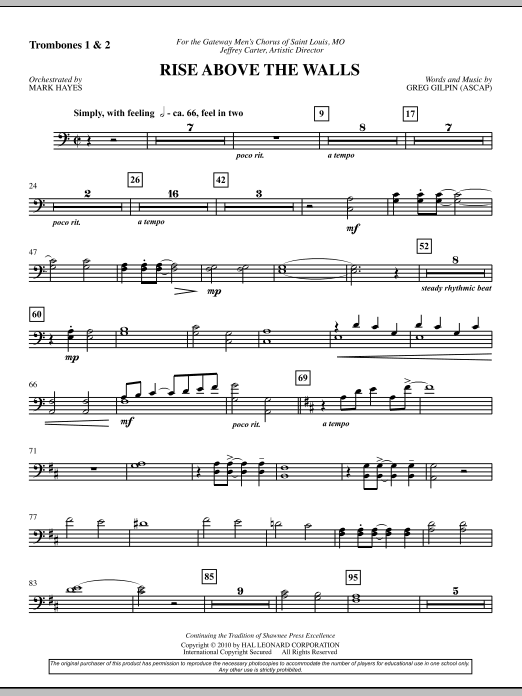 Rise Above The Walls - Trombone 1 & 2 (Choir Instrumental Pak)
