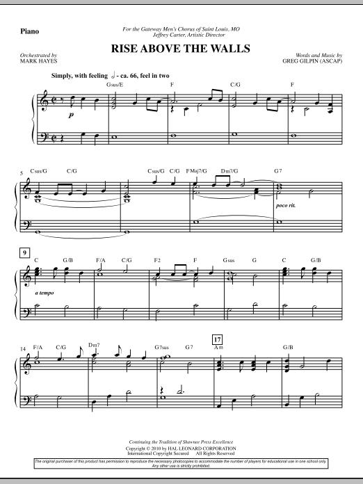 Rise Above The Walls - Piano (Choir Instrumental Pak)