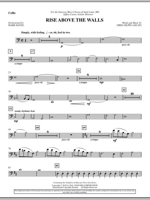 Rise Above The Walls - Cello (Choir Instrumental Pak)