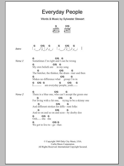 Everyday People Sheet Music