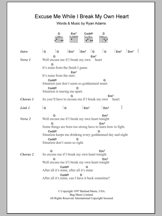 Excuse Me While I Break My Own Heart Tonight Sheet Music