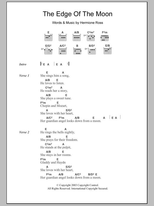 The Edge Of The Moon Sheet Music Roisin Oreilly Lyrics Chords