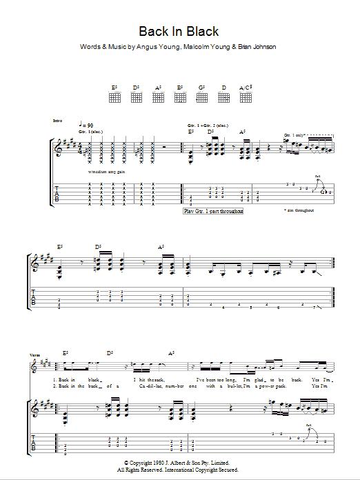 Guitar guitar tabs back in black : Hollywood Sheet Music - sheet music titles including piano, guitar ...