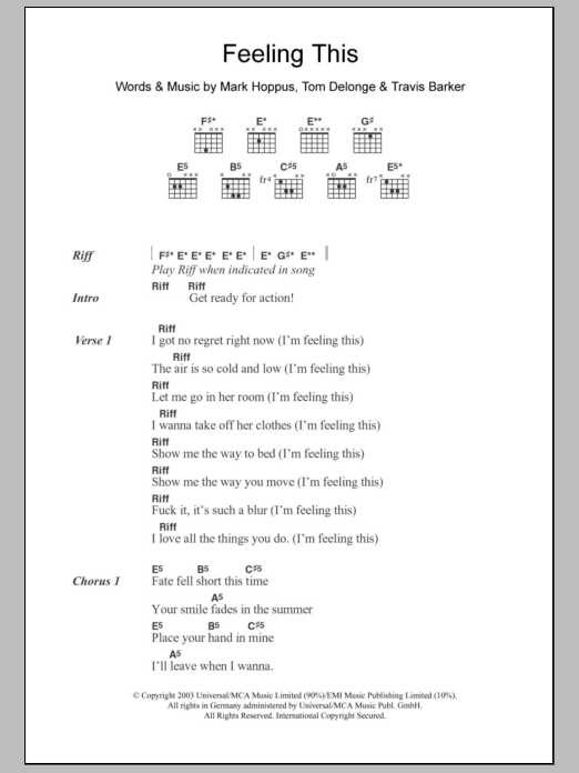 Feeling This by Blink-182 - Guitar Chords/Lyrics - Guitar Instructor