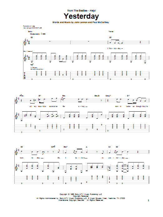 Yesterday Guitar Tab by The Beatles (Guitar Tab u2013 75006)