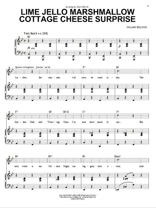 Partition piano Lime Jello Marshmallow Cottage Cheese Surprise de William Bolcom - Piano Voix Guitare (Mélodie Main Droite)