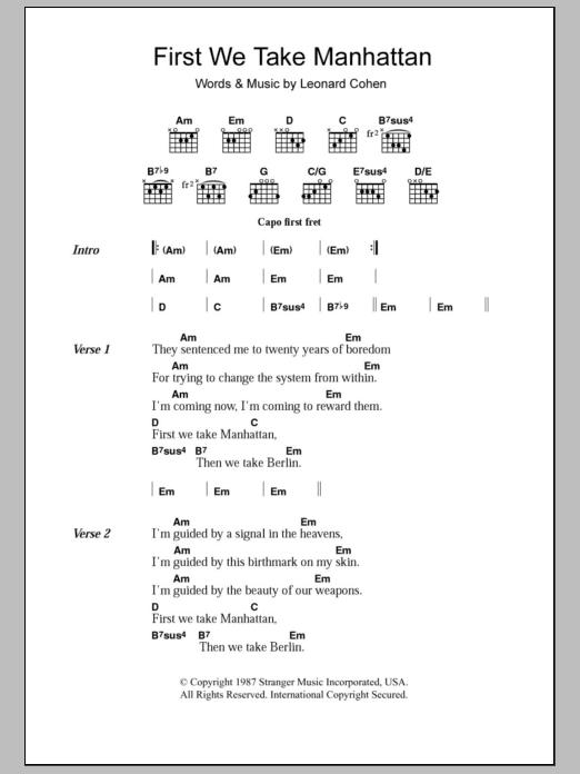 First We Take Manhattan Leonard Cohen Lyrics Chords