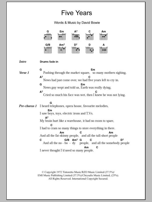 Five Years Sheet Music