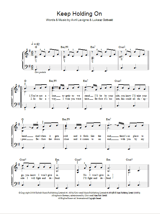 Keep Holding On Sheet Music Direct