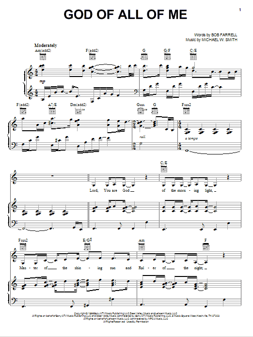 God Of All Of Me (Piano, Vocal & Guitar (Right-Hand Melody))