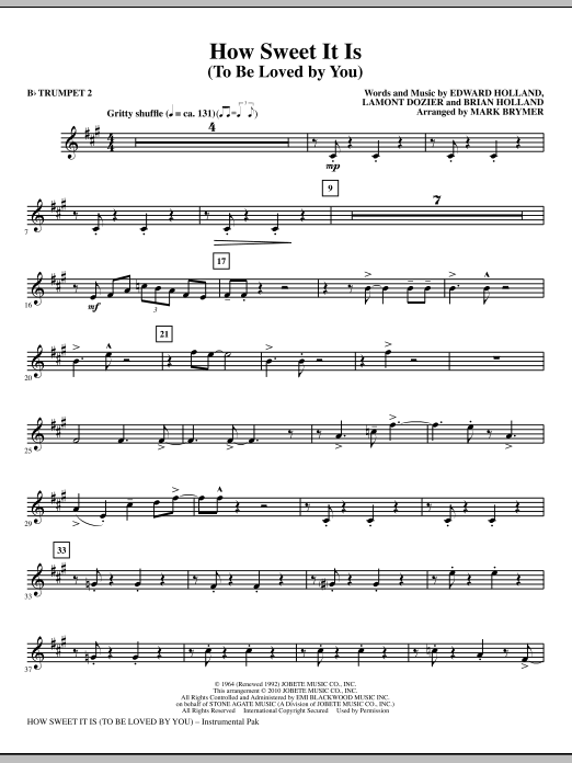 How Sweet It Is (To Be Loved By You) - Bb Trumpet 2 (Choir Instrumental Pak)