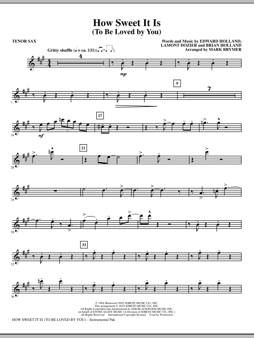 How Sweet It Is (To Be Loved By You) - Bb Tenor Saxophone (Choir Instrumental Pak)