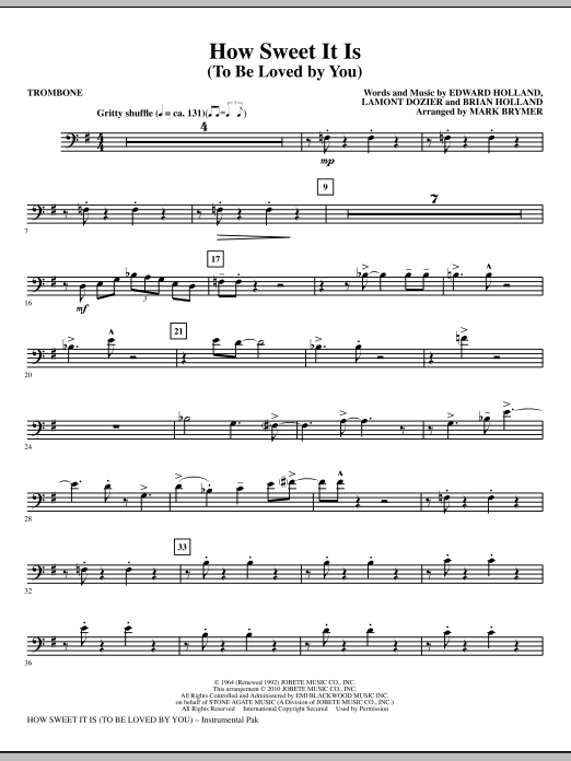 How Sweet It Is (To Be Loved By You) - Trombone (Choir Instrumental Pak)