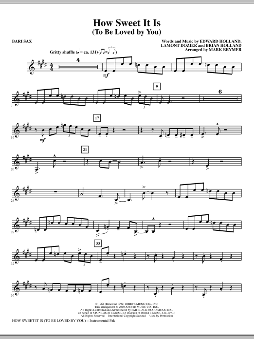 How Sweet It Is (To Be Loved By You) - Baritone Sax (Choir Instrumental Pak)