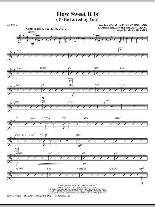 How Sweet It Is (To Be Loved By You) - Guitar (Choir Instrumental Pak)