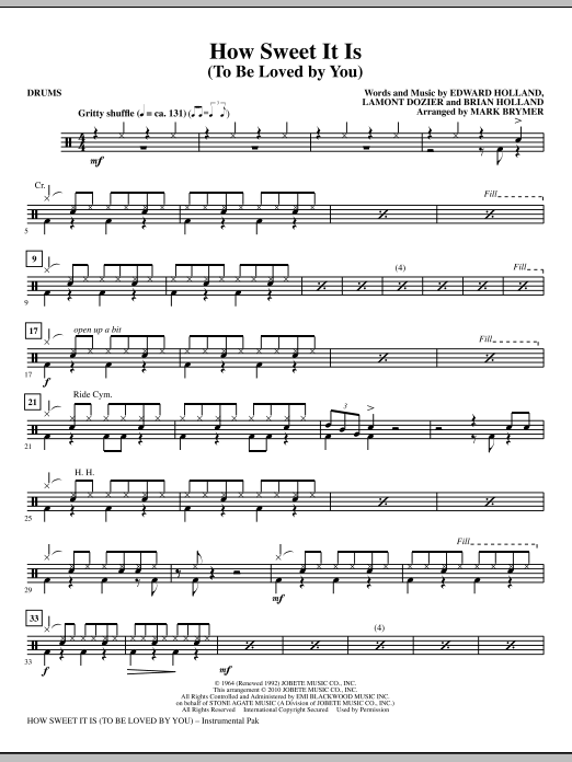 How Sweet It Is (To Be Loved By You) - Drums (Choir Instrumental Pak)