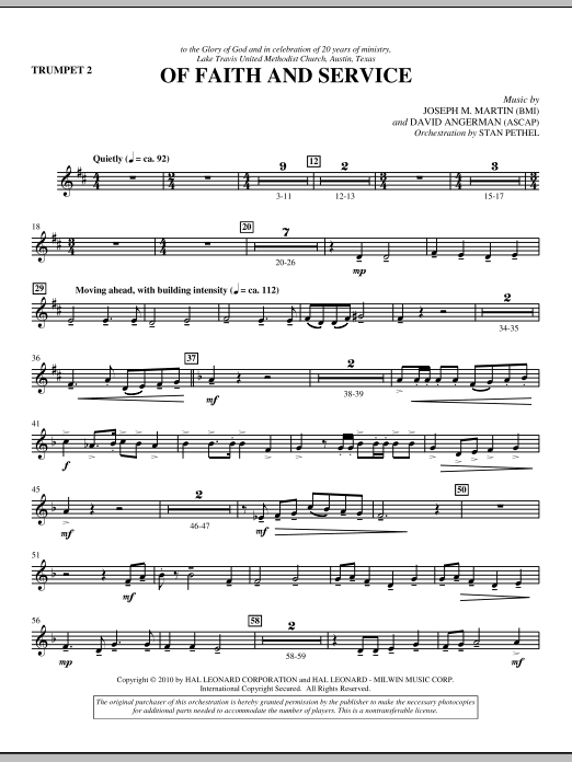 Of Faith And Service - Trumpet 2 (Choir Instrumental Pak)