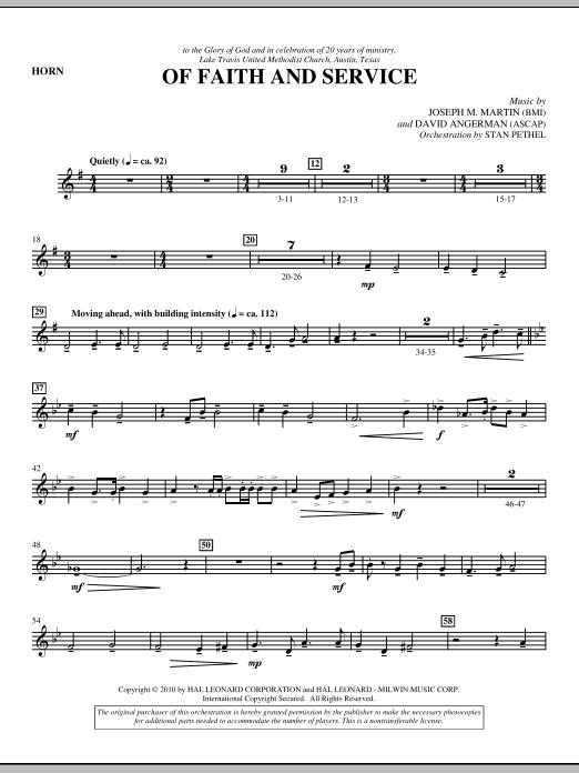 Of Faith And Service - F Horn (Choir Instrumental Pak)