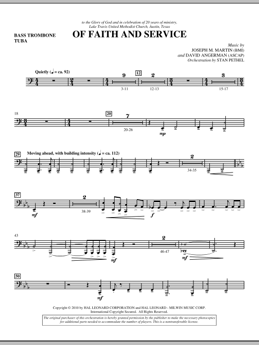 Of Faith And Service - Bass Trombone/Tuba (Choir Instrumental Pak)