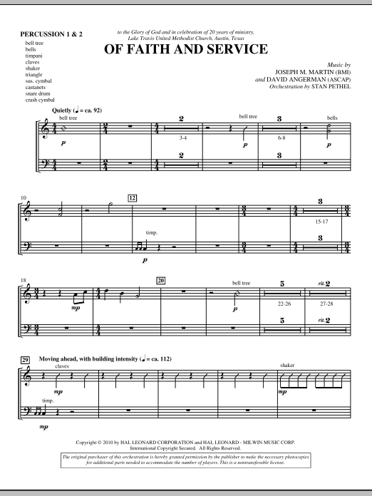 Of Faith And Service - Percussion 1 & 2 (Choir Instrumental Pak)
