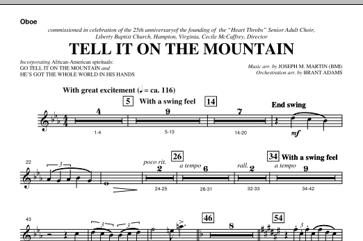 Tell It On The Mountain (from A World Of Christmas) - Oboe (Choir Instrumental Pak)