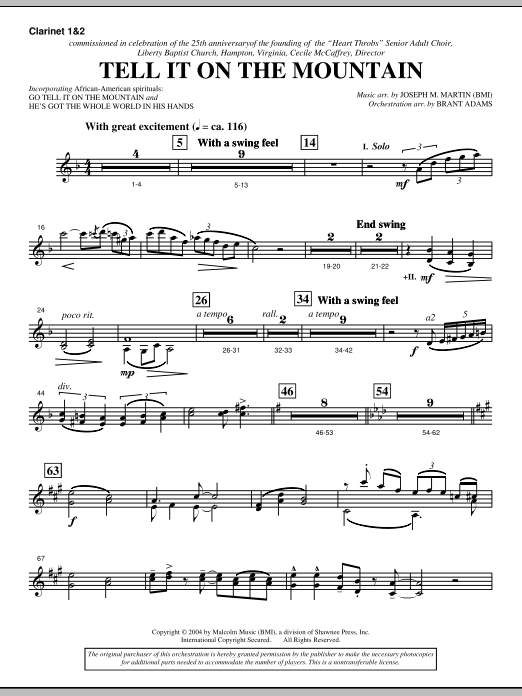 Tell It On The Mountain (from A World Of Christmas) - Bb Clarinet 1,2 (Choir Instrumental Pak)