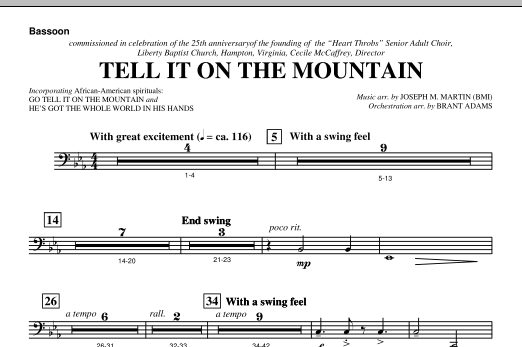 Tell It On The Mountain (from A World Of Christmas) - Bassoon (Choir Instrumental Pak)