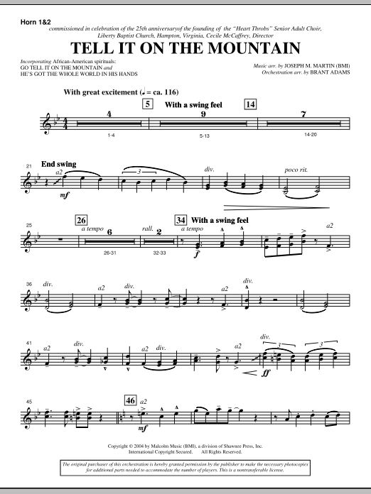 Tell It On The Mountain (from A World Of Christmas) - F Horn 1,2 (Choir Instrumental Pak)