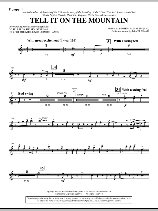 Tell It On The Mountain (from A World Of Christmas) - Bb Trumpet 1 (Choir Instrumental Pak)