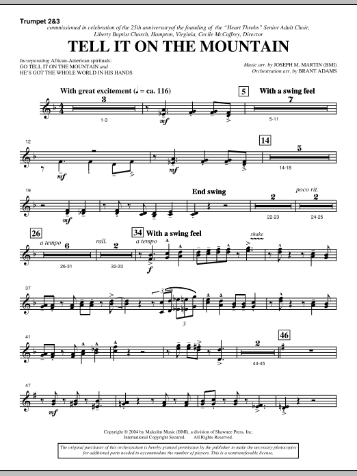 Tell It On The Mountain (from A World Of Christmas) - Bb Trumpet 2,3 (Choir Instrumental Pak)
