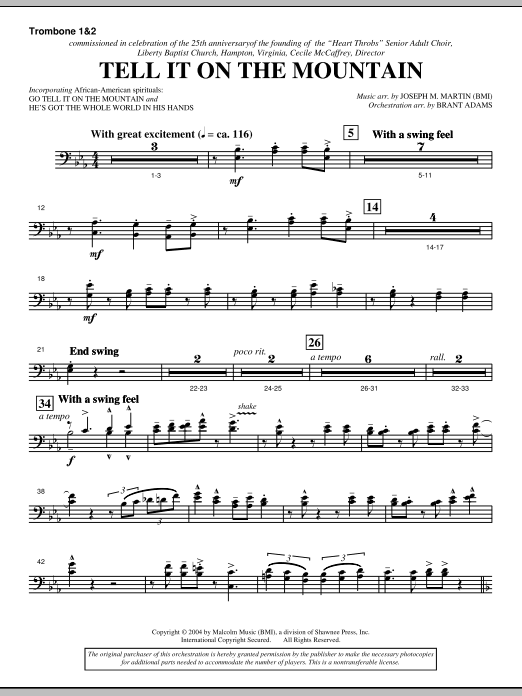 Tell It On The Mountain (from A World Of Christmas) - Trombone 1 & 2 (Choir Instrumental Pak)