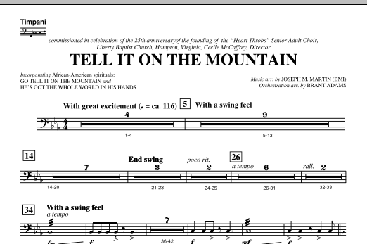 Tell It On The Mountain (from A World Of Christmas) - Timpani (Choir Instrumental Pak)