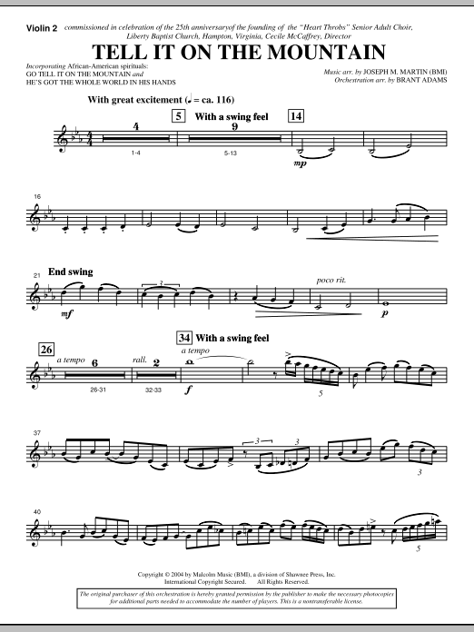 Tell It On The Mountain (from A World Of Christmas) - Violin 2 (Choir Instrumental Pak)