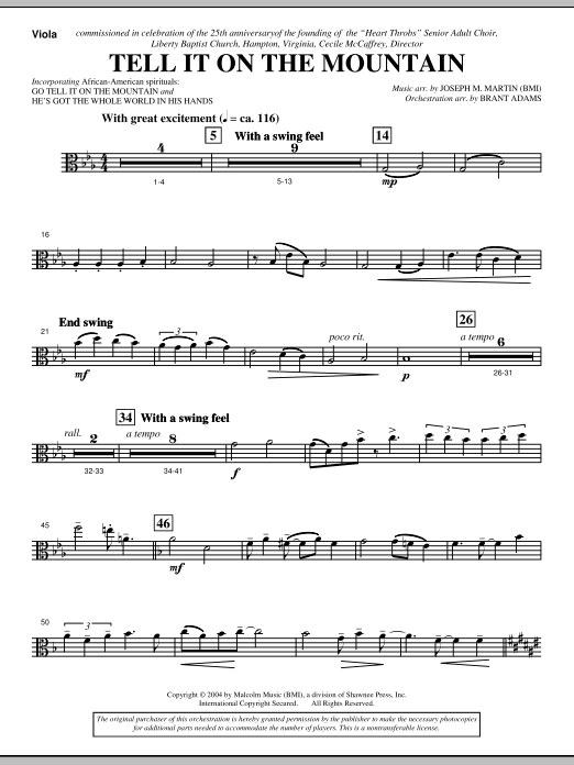 Tell It On The Mountain (from A World Of Christmas) - Viola (Choir Instrumental Pak)