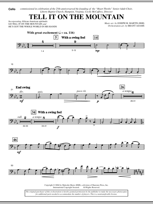 Tell It On The Mountain (from A World Of Christmas) - Cello (Choir Instrumental Pak)