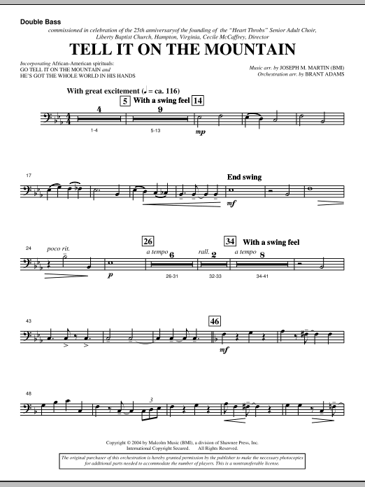 Tell It On The Mountain (from A World Of Christmas) - Double Bass (Choir Instrumental Pak)