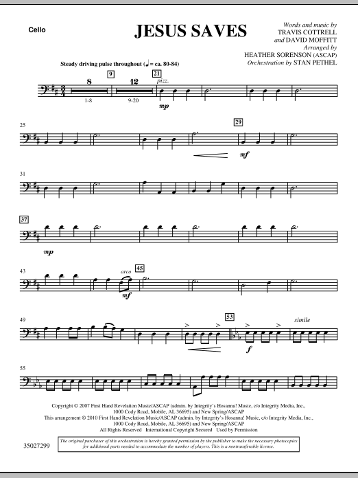 Jesus Saves - Cello Sheet Music