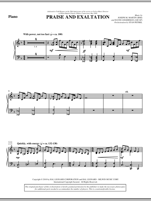 Praise And Exaltation - Piano (Choir Instrumental Pak)