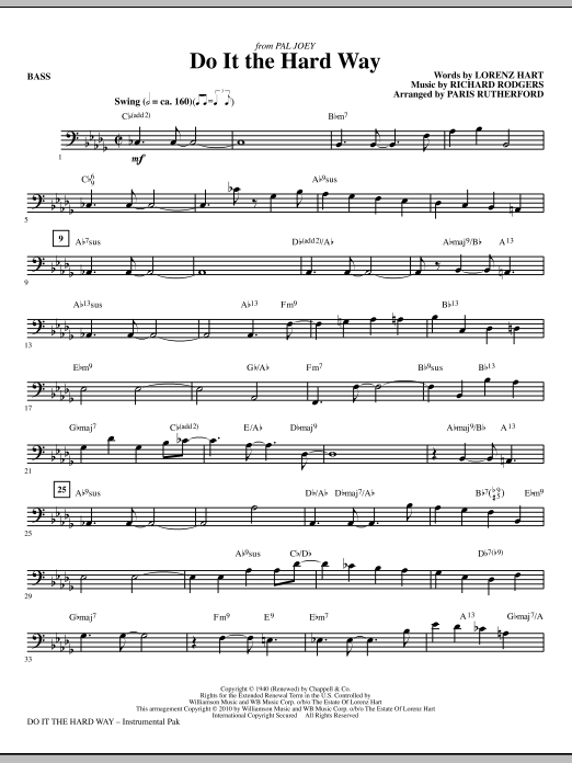 Do It The Hard Way (from Pal Joey) - Bass (Choir Instrumental Pak)