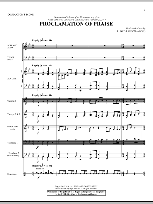 Proclamation Of Praise (COMPLETE) sheet music for orchestra/band (Brass) by Lloyd Larson. Score Image Preview.